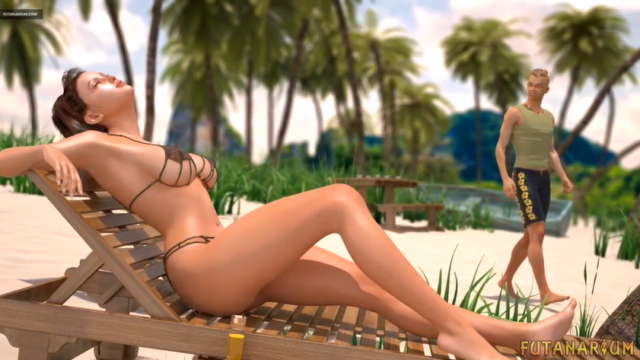 Futanarium: surprise on the beach (3D Comic)